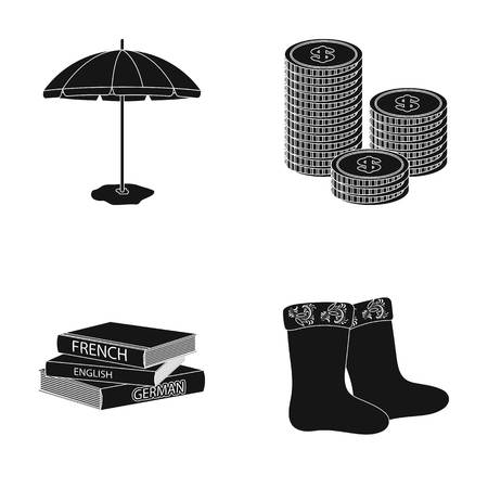 Beach umbrella, a stack of coins and other web icon in black style. dictionaries, felt boots icons in set collection.