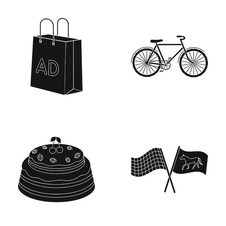 racetrack, shopping and or web icon in black style.Sport, excitement icons in set collection.