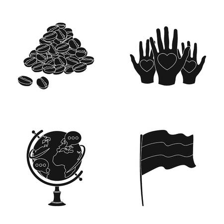 charity collection: country, cooking and or web icon in black style.learning, charity icons in set collection.