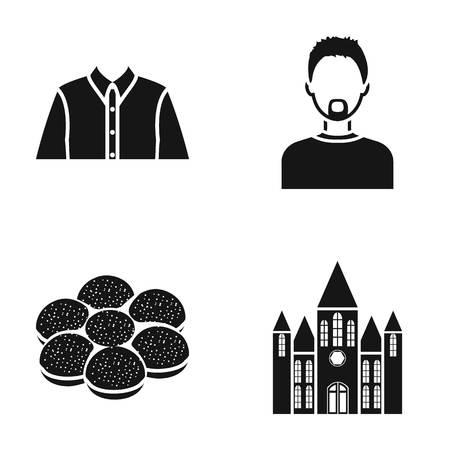 Geschiedenis, beroep, koken en mode iconen zwarte stijl set collectie.