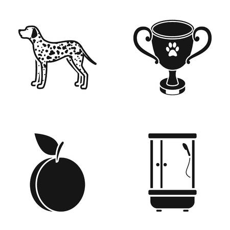 Cooking, competition, breed, and plumbing icons black style set collection.
