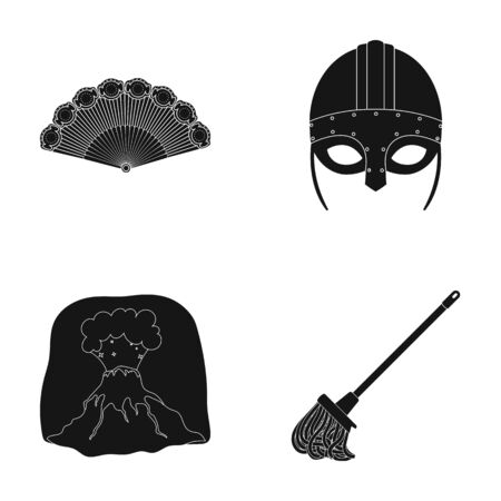 History, travel and or  icon in black style.archeology, cleaning icons in set collection. Illustration