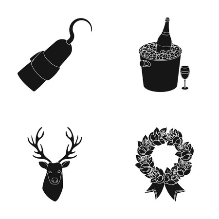 animal, literature and or  icon in black style.Alcohol, ritual icons in set collection.