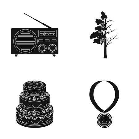 transistor: radio, cocina yo ícono en negro style.agriculture, iconos del deporte en la colección de conjunto. Vectores