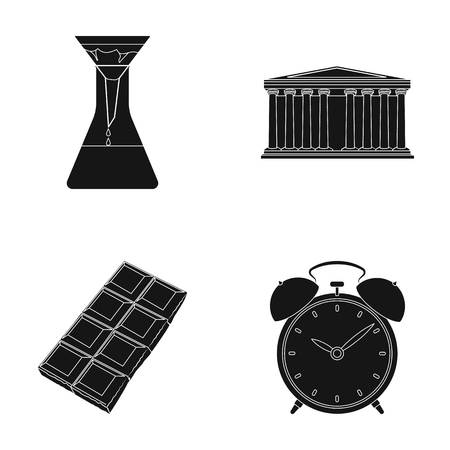 black history: Education, cooking and or  icon in black style.traveling, history icons in set collection. Illustration