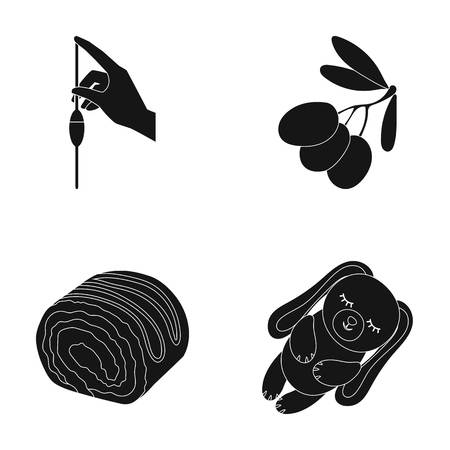 tree logo: chemistry, cooking and or  icon in black style. house, dessert icons in set collection.