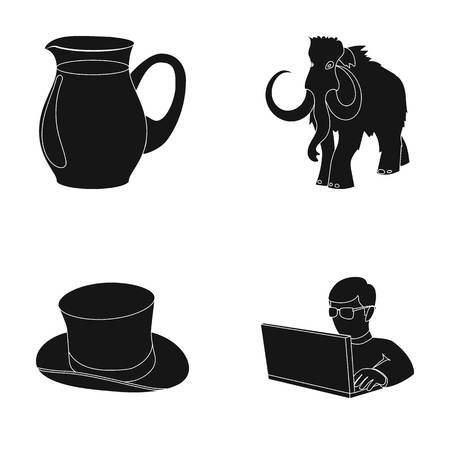 decanter: food, fashion and or  icon in black style.history, computer icons in set collection. Illustration