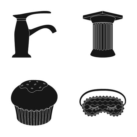 house ware: sanitary ware, cooking and or  icon in black style. Archeology, house icons in set collection.