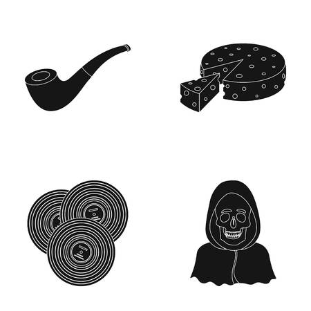police, art and or  icon in black style. ritual, Cooking icons in set collection. Illustration
