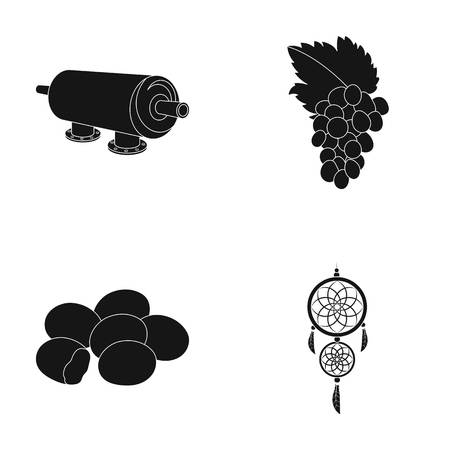 oil refining, religion and or  icon in black style. alcohol, sleep icons in set collection. Illustration