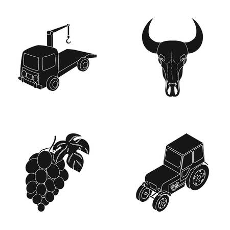 winemaking: tractor, Winemaking and or  icon in black style. history, transport icons in set collection.