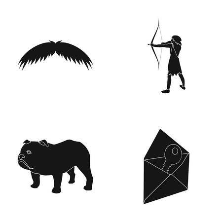 neanderthal women: barber, history and or web icon in black style.travel, mail icons in set collection. Illustration