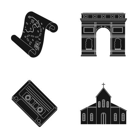 interesting music: travel, art and or web icon in black style. Adventure, religion icons in set collection.