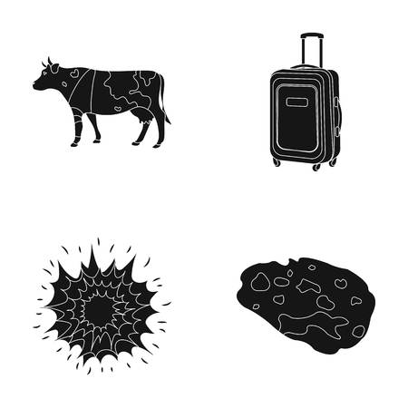travel, agriculture and or  icon in black style.space, weapons icons in set collection. Illustration