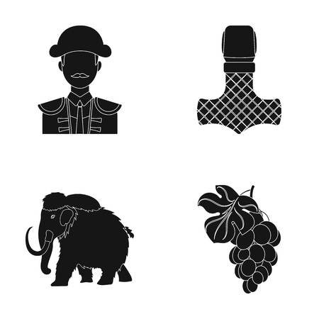 winemaking, travel and or web icon in black style.history, myth icons in set collection. Illustration