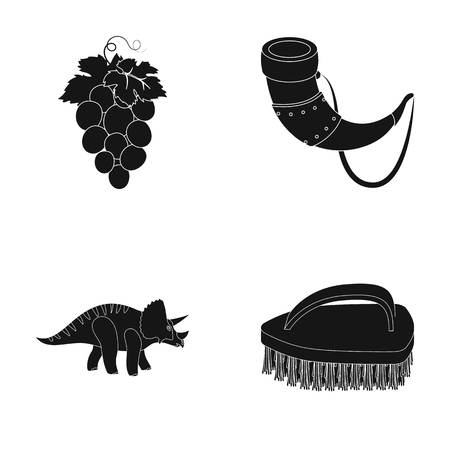 bristles: cleaning, winemaking and or web icon in black style. history, myths icons in set collection.