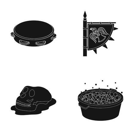 was-, muziek- of webpictogram in zwarte stijl.history, reispictogrammen in verzameling. Stock Illustratie