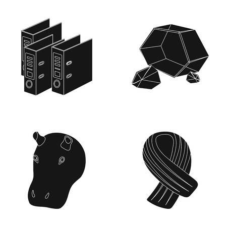 黒のスタイルの快適さ、ファッション、または web のアイコン。動物、訓練、鉱物のアイコン セットのコレクション。