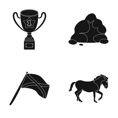 training, travel and or web icon in black style.sports, racecourse icons in set collection. Ilustração