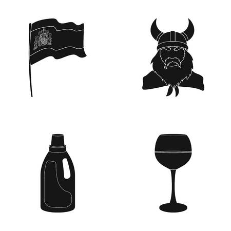 travel, cleaning and or web icon in black style. history, alcohol icons in set collection.