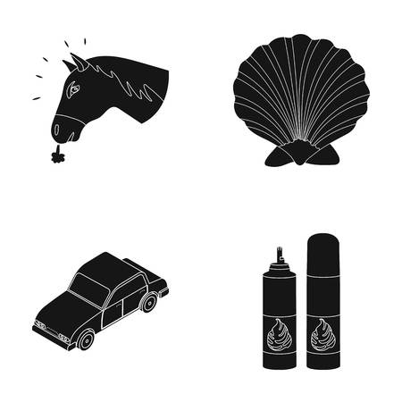 animal, Transport and or web icon in black style. cooking, traveling icons in set collection. Illustration