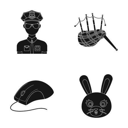 animal, police and or web icon in black style.travel, technology icons in set collection.