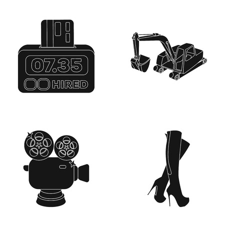 shoes, services and or web icon in black style.cinema, transport icons in set collection. Ilustração