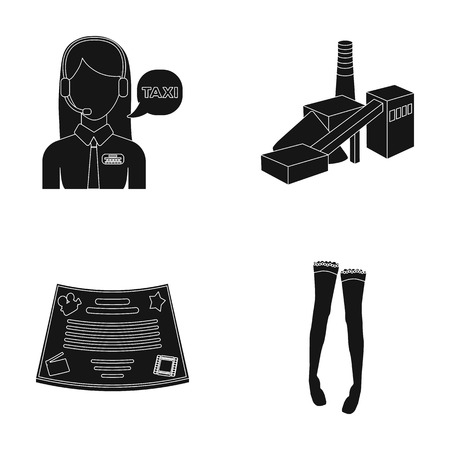 maintenance, film and or web icon in black style. clothing, Coal industry icons in set collection.