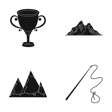 Mongolia, travel and or web icon in black style.sport, education icons in set collection.