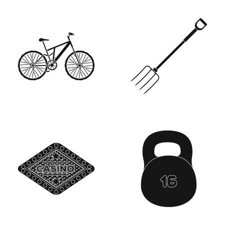 fasten: Sports, fitness and other web icon in black style.agriculture, casino icons in set collection. Illustration