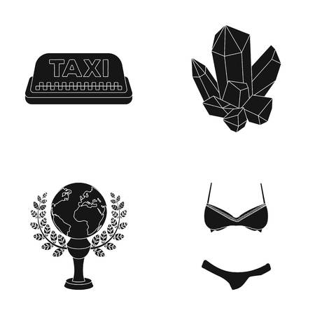 Clothing, service and or web icon in black style.film, Shakhta icons in set collection. Illustration