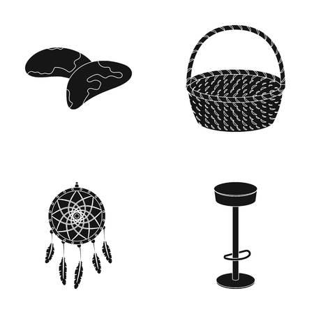 Bar, nourriture et autres icônes Web en style noir. Meubles, icônes traditionnelles dans la collection de jeux. Banque d'images - 82188978