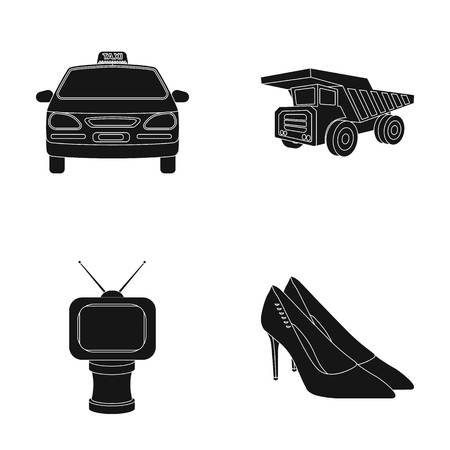 service, film and or web icon in black style.award, shoes, transport icons in set collection.