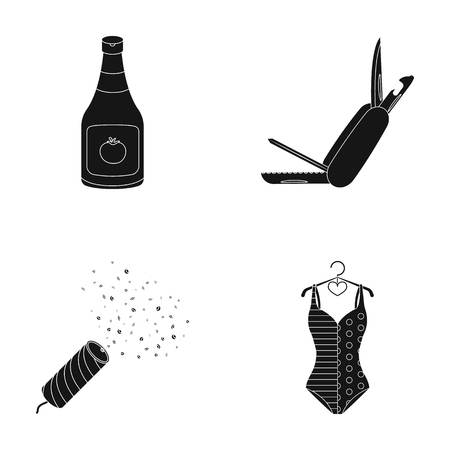 cooking, holiday and other  icon in black style.weapons, sports icons in set collection.