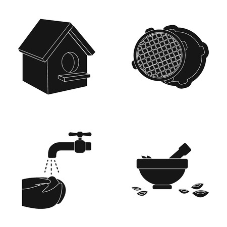 sewage system: A bowl, nuts, spoon and other web icon in black style. faucet, water, washing icons in set collection.