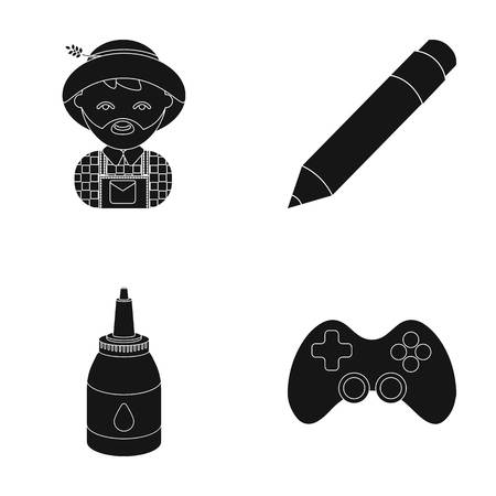 Equipment, entertainment, tourism and other web icon in black style.game, management, facilities, icons in set collection.