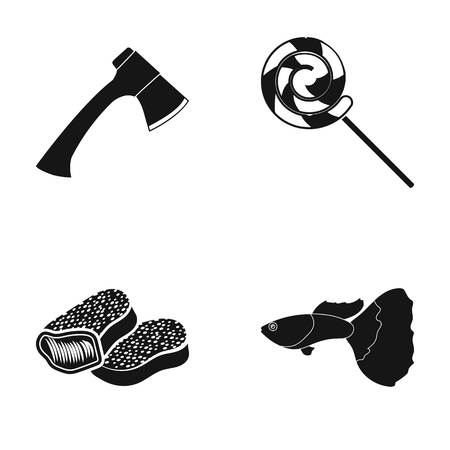 Nature, leisure, hobbies and other web icon in black style.ocean, water, aquarium icons in set collection. Çizim