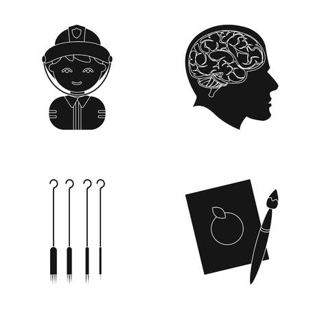 fireman: An art, profession, hobby and other web icon in black style. leaf, paint, drawing, icons in set collection. Illustration