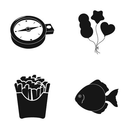 Here, water, cafe and other web icon in black style.fast food, fish, flounder, icons in set collection. Illustration