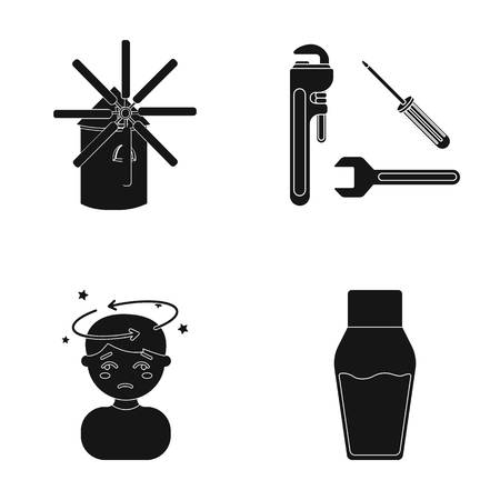 Liquid, lacquer, medicine and other web icon in black style.bottle, lid, container and botte.