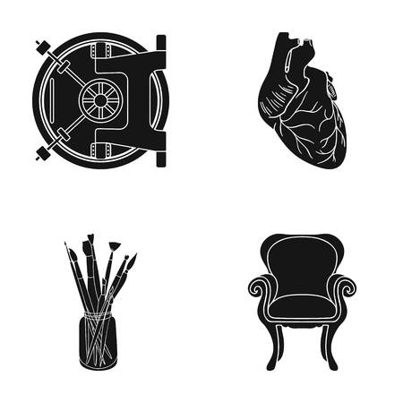 capillaries: Furniture, medicine, business and other web icon in black style. Legs, curly, fabric, icons in set collection.