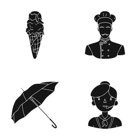 sun cream: hairdo, profession, restaurant and other web icon in black style.operator, microphone, headphones, icons in set collection. Illustration
