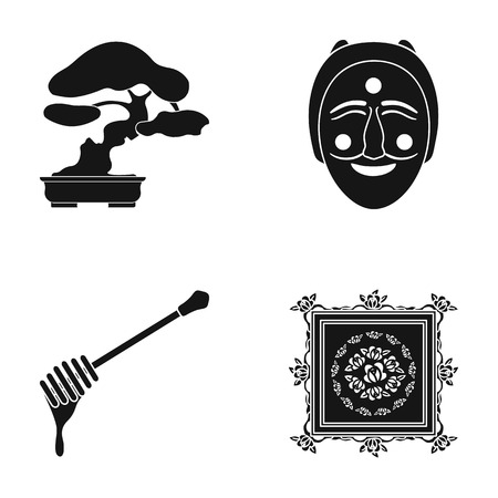 theatre masks: drawing, decoration, nature and other web icon in black style., rolling, carpet, painting icons in set collection. Illustration