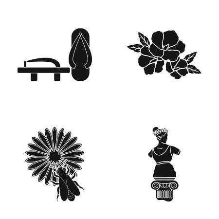 history, museum, China and other web icon in black style.sculpture, Aphrodite, statue, icons in set collection. Ilustracja