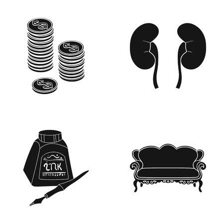 Möbel, Medizin, Business und andere Web-Symbol in schwarz style.design, antike, Carving, Icons in Set-Sammlung.