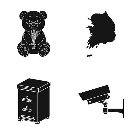 zoo, toy, beekeeping and other web icon in black style.surveillance, equipment, security icons in set collection. Illustration