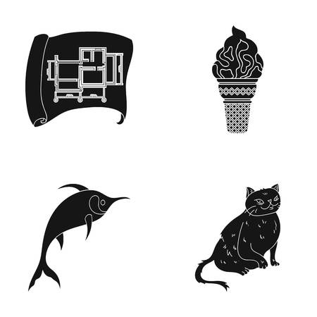 cat, animal, fur and other web icon in black style.sea, dolphinarium, entertainment, icons in set collection. Illustration