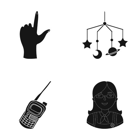 educator, tourism, travel and other web icon in black style., overalls, badge, scout icons in set collection.