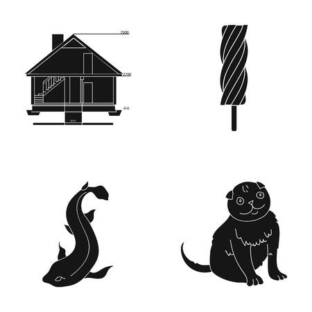 A building, recreation, entertainment and other web icon in black style. tail, wool, care, icons in set collection.