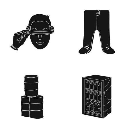 refrigerator: A trade, ecology, textiles and other web icon in black style.bottles, drinks, storage, icons in set collection. Illustration